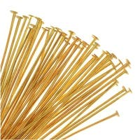 Head Pins, 1.5 Inches Long and 23 Gauge Thick, 50 Pieces, Soft Gold Plated Brass