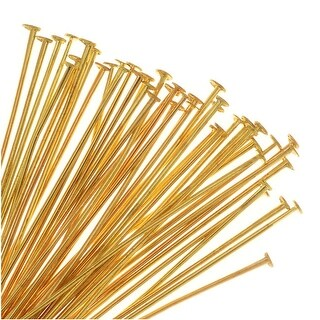 Head Pins, 2 Inches Long and 21 Gauge Thick, 50 Pieces, Soft Gold Plated Brass