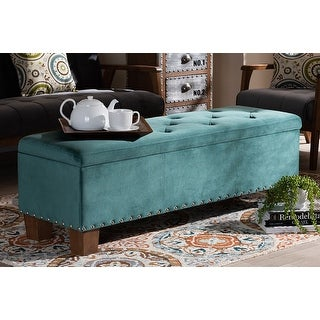 Adrian Teal Blue Velvet Fabric Button-Tufted Storage Ottoman Bench