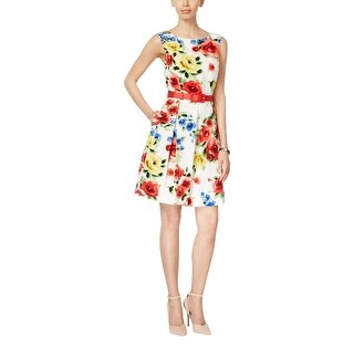 Tahari ASL Womens Casual Dress Floral Print Sleeveless