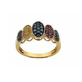 0.54 Total Carat Weight Round Brilliant Cut Multi Color Diamond Designer Ring