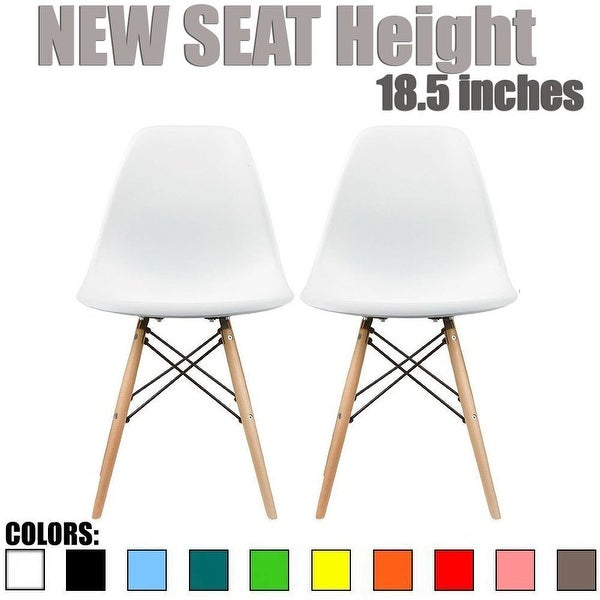 2xhome Modern Plastic Chairs Eiffel Chairs Side Dining Chair Colors With Natural Wood Legs (Set of 2)