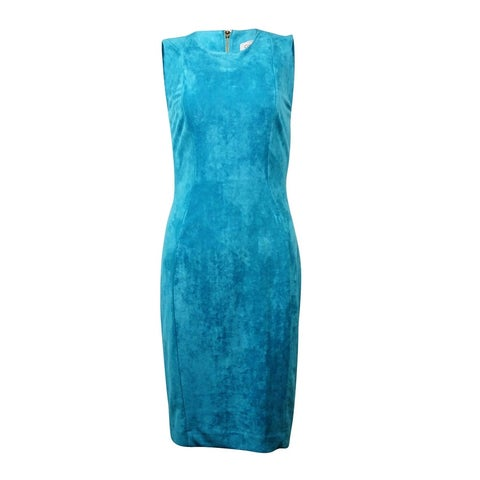 Calvin Klein Women's Sleeveless Faux Suede Seamed Sheath Dress