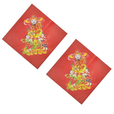 """Chinese New Year Fish Pattern Window Wall Sticker Decal Mural 2Pcs - Multi-Color - 11"""" x 11""""(L*W)"""