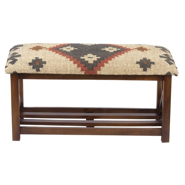 "Handmade Kilim Upholstered Storage Bench (India) - 32"" H x 14"" W x 16"" H. Opens flyout."