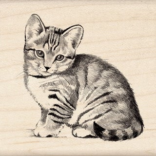 "Inkadinkado Mounted Rubber Stamp 2.25""X2.25""-Little Kitten"