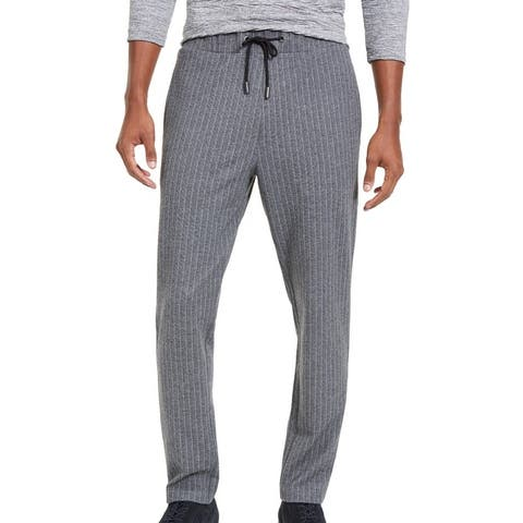Alfani Mens Sweatpant Ice Heather Gray Large L Pinstripe Knit Drawstring