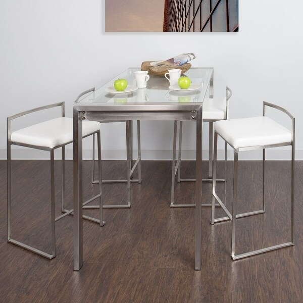Porch & Den Sky Ranch Stainless Steel/ Glass 5-piece Counter Height Dining Set. Opens flyout.