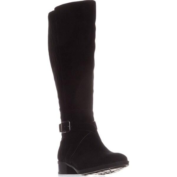 DKNY Mattie Flat Knee-High Boots, Black Suede