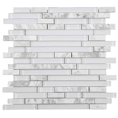 TileGen. Random Sized Brick Marble Mix Glass Mosaic Tile in White Wall Tile (10 sheets/9.6sqft.)