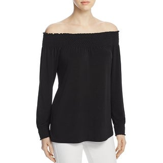 Calvin Klein Womens Pullover Top Smocked Off-The-Shoulder