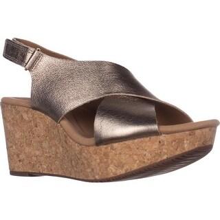 Clarks Annadel Eirwyn Comfort Wedge Sandals, Gold Metallic