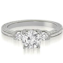 1.00 cttw. 14K White Gold Milgrain Three-Stone Round Diamond Engagement Ring
