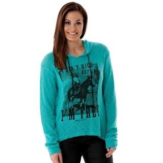 Cowgirl Tuff Western Sweater Womens Chunky Knit L/S Hood Turq H00509