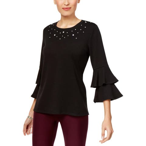 NY Collection Womens Pullover Top Embellished Ruffle Sleeves