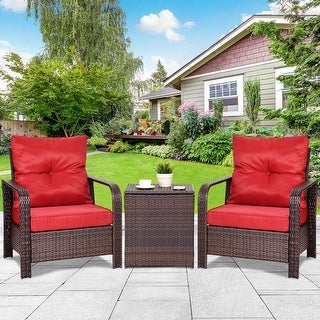 Costway 3pcs Rattan Wicker Patio Bistro Furniture Set Chairs Storage Table W Cushion New Free Shipping Today 23140220