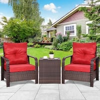 Costway 3PCS Rattan Wicker Patio Bistro Furniture Set Chairs Storage Table W/Cushion NEW - Red