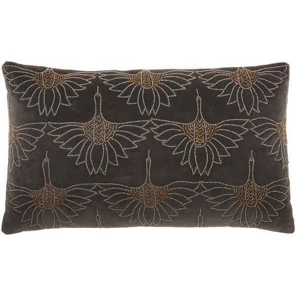 "Mina Victory Sofia Modern Art Deco Beaded Floral Lumbar Throw Pillow 12"" x 20"". Opens flyout."