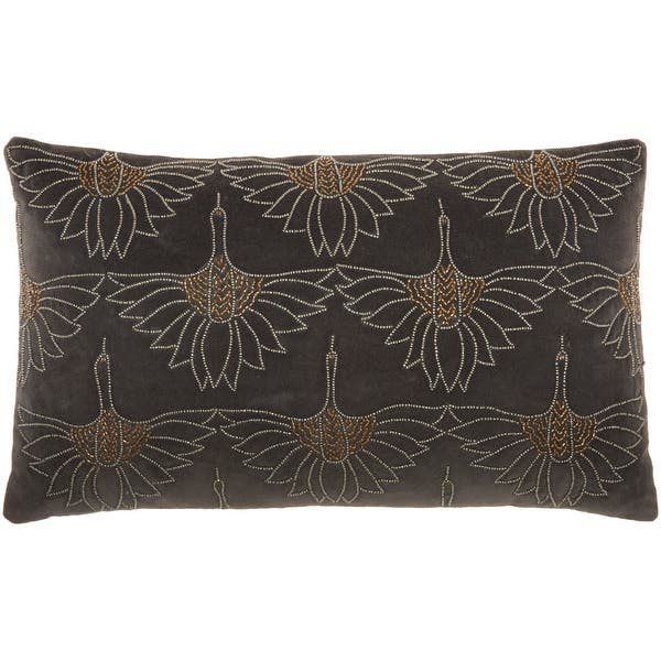 Mina Victory Sofia Modern Art Deco Beaded Floral Lumbar Throw Pillow 12 X 20 Overstock 32078092
