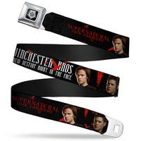 Winchester Logo Full Color Black White Supernatural Winchester Bros. Screw Seatbelt Belt