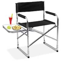 Costway Aluminum Folding Director's Chair with Side Table Camping Traveling - Silver and Black