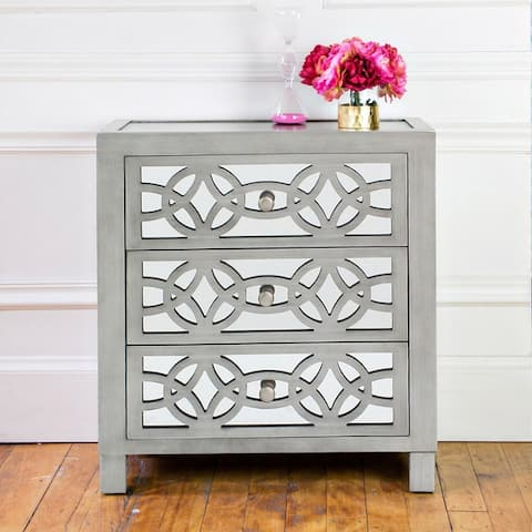 Silver Orchid Fonda 3-drawer Mirrored Cut-out Chest
