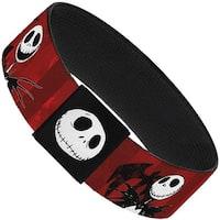 """Nightmare Before Christmas Jack Poses Bats Red Stripe Elastic Bracelet   1.0"""" Wide"""
