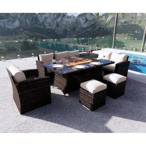 Moda Morden 7-piece Outdoor Wicker Sofa with Fire Pit Table Patio Set