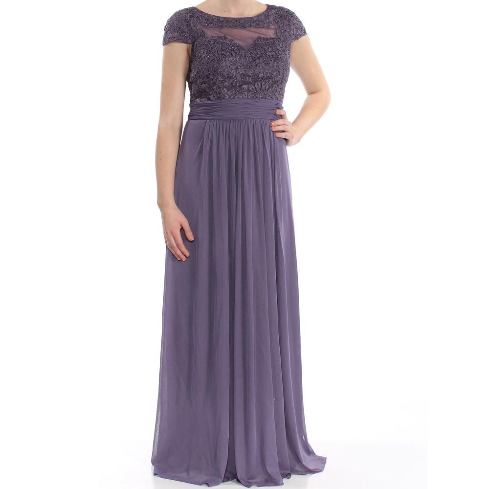 ALEX EVENINGS Purple Cap Sleeve Full Length A-Line Dress Size 6