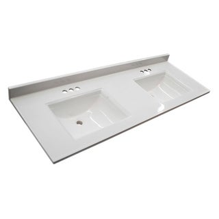 """Design House 557678 61"""" Marble Drop-In Vanity Top with Two Integrated Sinks and 3 Faucet Holes - Solid White"""