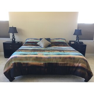 vince camuto lille striped green and gold comforter set - free