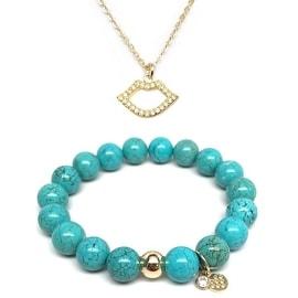 "Julieta Jewelry Set 10mm Turquoise Magnesite Emma 7"" Stretch Bracelet & 15mm Lips CZ Charm 16"" 14k Over .925 SS Necklace"