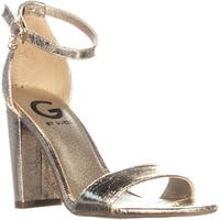 G Guess Shantel3 Ankle Strap Block Heel Sandals, Gold Synthetic