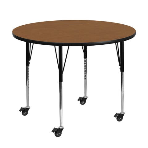 """Offex 42"""" Mobile Round Activity Table with Oak Thermal Fused Laminate Top and Height Adjustable Pre-School Legs - N/A"""