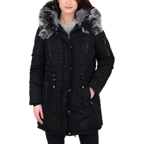 Steve Madden Womens Parka Coat Faux Fur Trim Convertible
