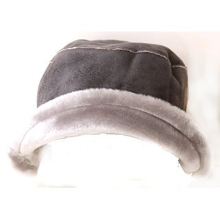 Women's Inner Faux Fur Fashion Bucket Hat Cap - Dark Brown