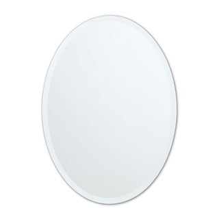 Frameless Beveled Oval Wall Mirror - Clear