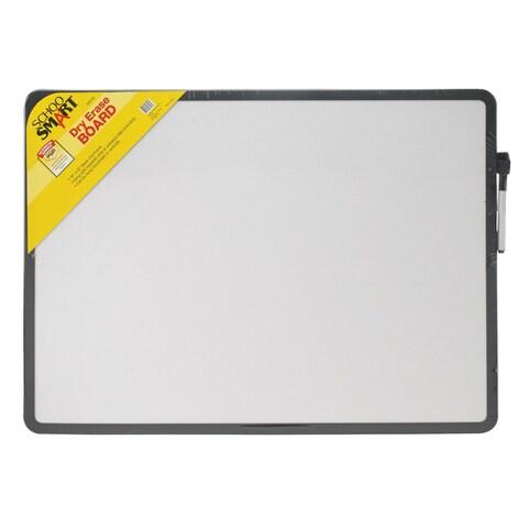 School Smart Dry Erase Board, 16 L x 22 W in, Black Frame, Horizontal/Vertical Mount