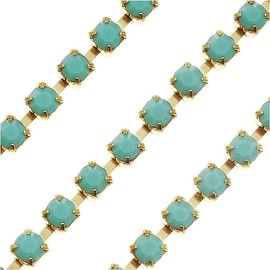 Czech Crystal Brass Rhinestone Cup Chain 24PP Turquoise (By The Foot)