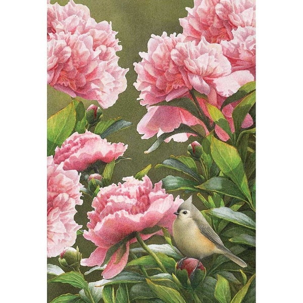 """Pink Peonies and Green Songbird Spring Theme Garden Flag 30"""" x 44"""" - N/A"""