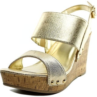 Material Girl Mona Women  Open Toe Synthetic Gold Wedge Sandal