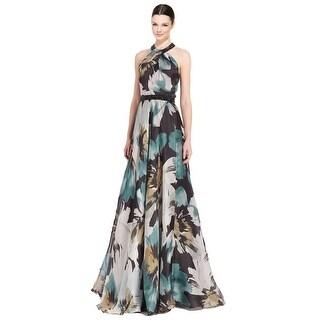 Carmen Marc Valvo Embellished Floral Silk Organza Evening Gown Dress - 14