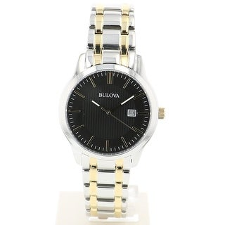 Link to Bulova Men's 98B237 Two-tone Stainless Black Dial Bracelet Watch Similar Items in Men's Watches
