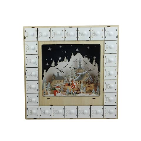 """13.25"""" LED Lighted Battery Operated White Wooden Village Scene Advent Calendar - N/A"""