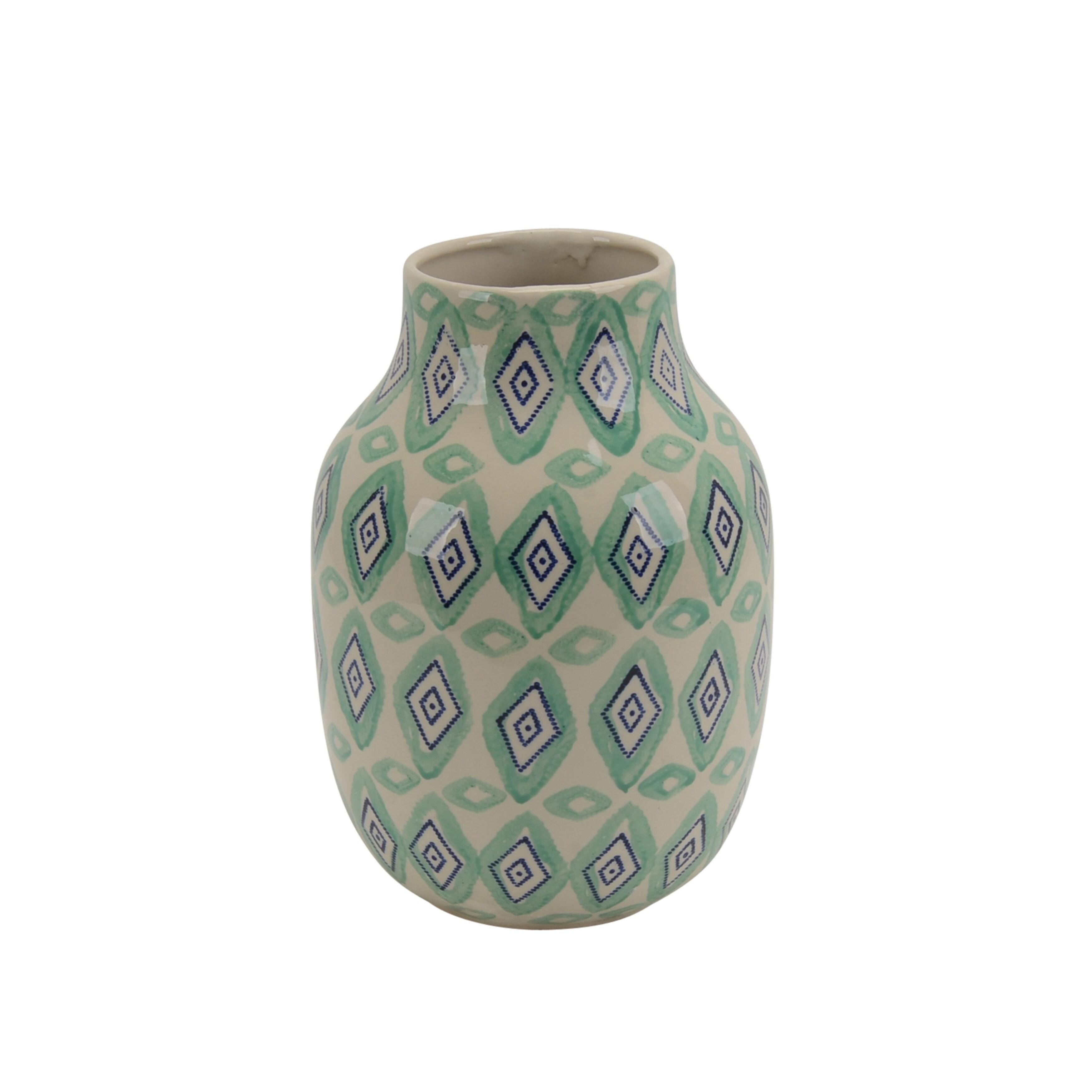 Small Size Ceramic Decorative Vase with Unique Design Pattern, Multicolor