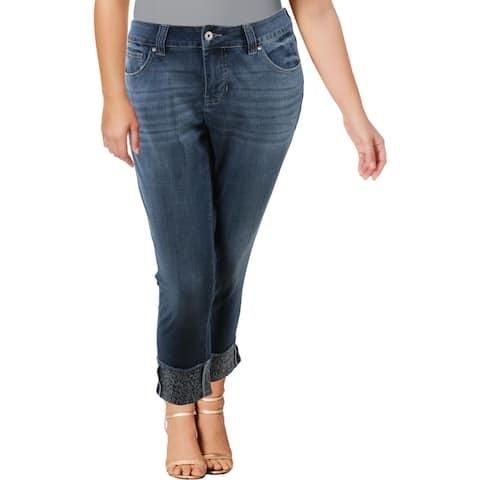 Jag Jeans Carter Women's Leopard Print Cuff Girlfriend Jeans - Brilliant Blue