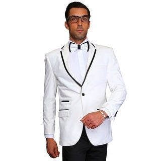MZV-415 WHITE Men's Manzini Fancy white solid velvet with black satin trim on collar sport coat.
