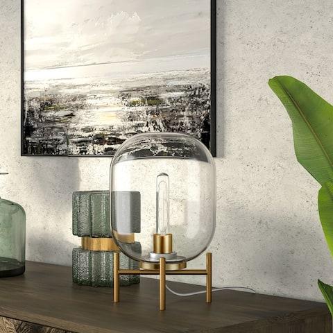 Carson Carrington Sagen Glass and Brass Table Lamp
