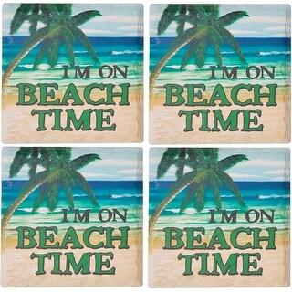 Palais Dinnerware Ceramic 4 Square Coasters, Set of 4 I'M On Beach Time