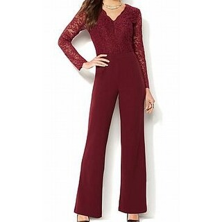 IMAN NEW Burgundy Red Womens Size XS Stretch Luxurious Lace Jumpsuit